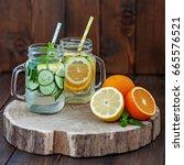 a drink of lemon  cucumber ... | Shutterstock . vector #665576521