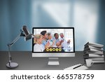 computer by cup and stacked...   Shutterstock . vector #665578759