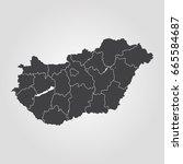 map of hungary | Shutterstock .eps vector #665584687