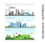 industry sustainable city   eco ... | Shutterstock .eps vector #665598241