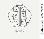 line flat vector hunt and... | Shutterstock .eps vector #665599951