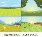 village landscapes vector... | Shutterstock .eps vector #665614561