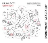 digital vector yellow startup... | Shutterstock .eps vector #665615689