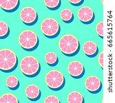 round grapefruit slices ... | Shutterstock .eps vector #665615764
