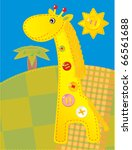 Children with a giraffe applique and buttons - stock photo