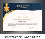 creative certificate template... | Shutterstock .eps vector #665618755