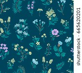 hand drawn floral pattern.... | Shutterstock .eps vector #665620201
