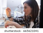 jeweler at work  crafting in a... | Shutterstock . vector #665621041