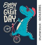 cute dinosaur on bicycle.... | Shutterstock .eps vector #665633881