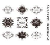 digital vector black floral... | Shutterstock .eps vector #665634799