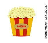 popcorn in red and white... | Shutterstock .eps vector #665637937
