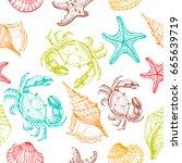 seashells  starfish  crab ... | Shutterstock .eps vector #665639719