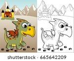 little dragon and castle on... | Shutterstock .eps vector #665642209