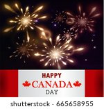 fireworks and canada flag | Shutterstock .eps vector #665658955