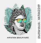 hipster classical sculpture.... | Shutterstock .eps vector #665662249