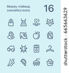 outline beauty  cosmetics ... | Shutterstock .eps vector #665663629