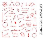 hand drawn red vector arrows... | Shutterstock .eps vector #665669599