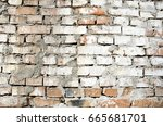 smooth wall made of bricks of... | Shutterstock . vector #665681701
