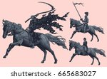 riders. design set. hand drawn... | Shutterstock .eps vector #665683027