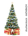 christmas tree and gifts. over... | Shutterstock . vector #66568624