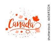 happy canada day typography... | Shutterstock .eps vector #665693224