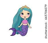 beautiful little mermaid .... | Shutterstock .eps vector #665706079