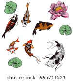 hand drawn koi  carp and lotus... | Shutterstock .eps vector #665711521
