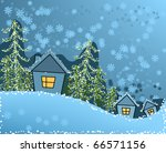 winter scene with houses and...