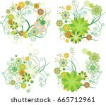 floral design elements. set. | Shutterstock . vector #665712961