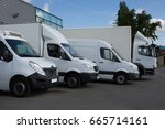 row of white delivery and... | Shutterstock . vector #665714161
