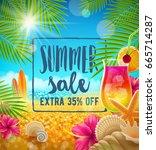 summer sale vector design.... | Shutterstock .eps vector #665714287