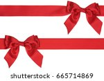 two thick red satin ribbons and ... | Shutterstock . vector #665714869