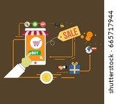 online sales concept flat... | Shutterstock .eps vector #665717944