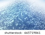 blue low poly abstract city. 3d ... | Shutterstock . vector #665719861