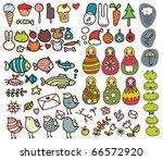 mix of doodle images in vector. ... | Shutterstock .eps vector #66572920