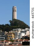 coit tower in the city of san... | Shutterstock . vector #665731