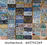 discontinued license plates... | Shutterstock . vector #665741269