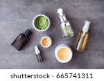 bottles and jars with natural... | Shutterstock . vector #665741311