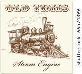 hand drawn steam locomotive | Shutterstock .eps vector #66574399