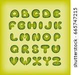 vector alphabet with zigzag | Shutterstock .eps vector #665747215
