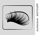 eyelashes icon on a gray... | Shutterstock .eps vector #665761609