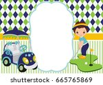 vector card template with cute... | Shutterstock .eps vector #665765869
