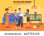 babysitter mother father and... | Shutterstock .eps vector #665793145