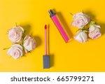 pink lipstick  lip gloss  open  ... | Shutterstock . vector #665799271
