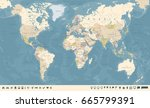 vintage world map and markers   ... | Shutterstock .eps vector #665799391