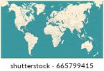 vintage world map   detailed... | Shutterstock .eps vector #665799415