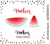 watermelon vector design... | Shutterstock .eps vector #665800441