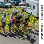 Small photo of COL DU GRAND COLOMBIER,FRANCE-JUL 17: The French cyclist Romain Sicard of Direct Energie Team riding on the road to Col du Grand Colombier in Jura Mountains during the stage 15 of Tour de France 2016