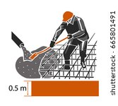 pouring of concrete mixture. | Shutterstock .eps vector #665801491