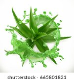 aloe juice  health and care. 3d ... | Shutterstock .eps vector #665801821